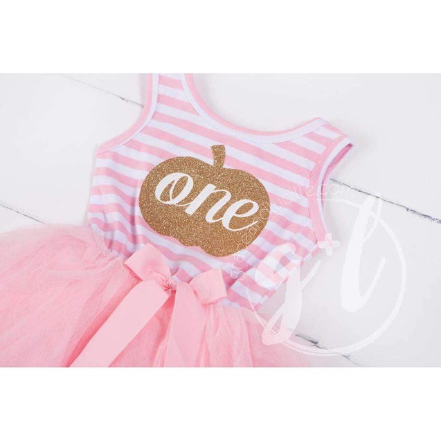 "1st Birthday Halloween Pumpkin Outfit, ""ONE"" Pink Stripe Sleeveless Dress & Gold Pink Headband - Grace and Lucille"