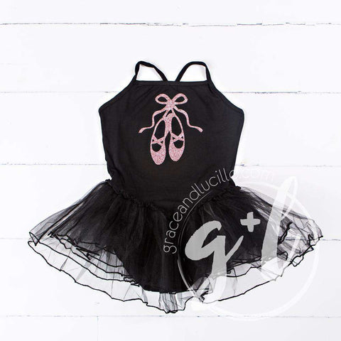 Ballet Leotard Tutu Classic Black with Ballet Slippers, Personalized Ballet Tote Bag with