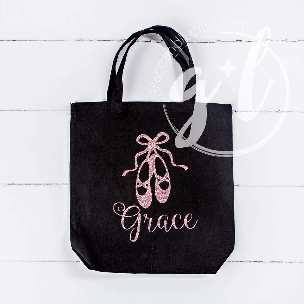 "Personalized Ballet Tote Bag with""Her Name"" in Pink"