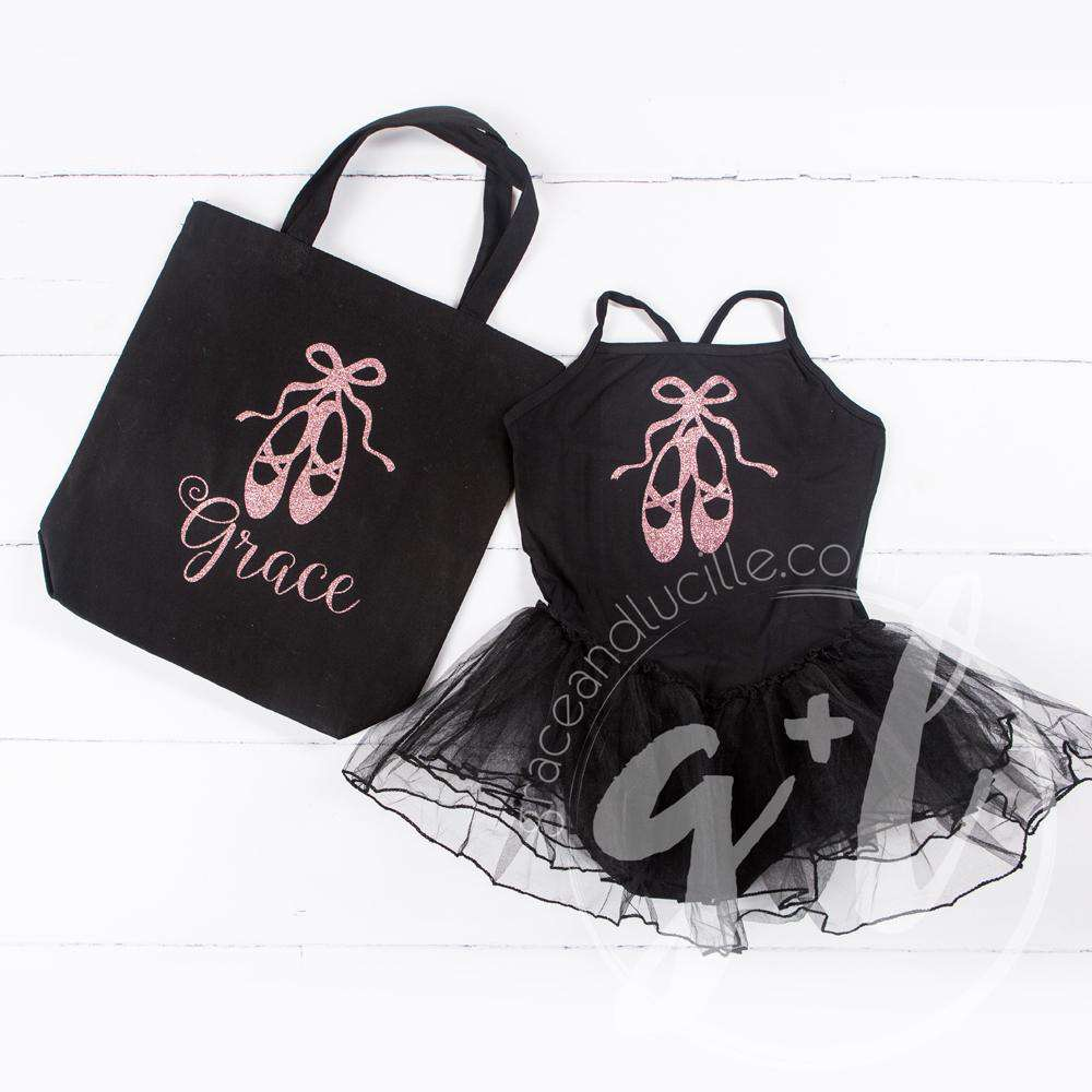 "Ballet Leotard Tutu Classic Black with Ballet Slippers, Personalized Ballet Tote Bag with""Her Name"" - Grace and Lucille"