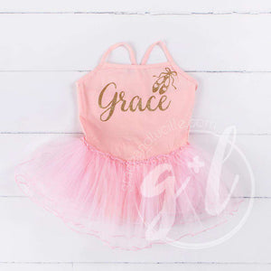 "Ballet Leotard Tutu Classic Pink with Gold Ballet Slippers and Personalized with""Her Name"" - Grace and Lucille"