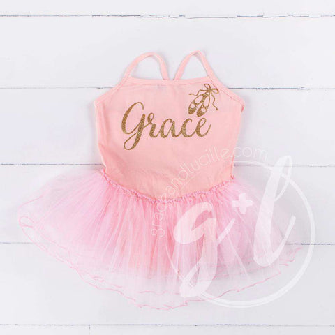 Ballet Leotard Tutu Classic Pink with Gold Ballet Slippers and Personalized with