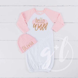 """Hello World"" Pink Heart Raglan Gown & Pink Beanie with ""Her Name"", Welcome Home Outfit - Grace and Lucille"