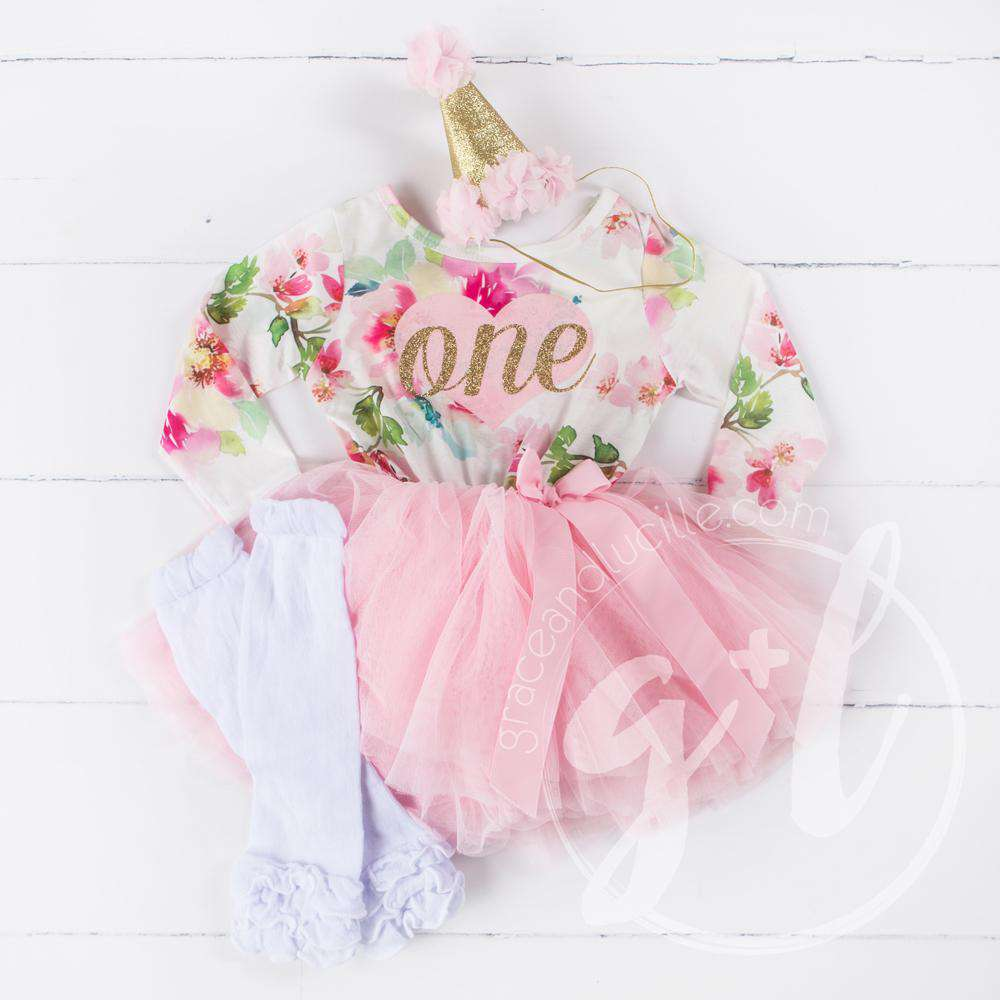 1st Birthday Outfit Pink Heart Gold ONE Floral Long Sleeve Dress White Leg Warmers Hat