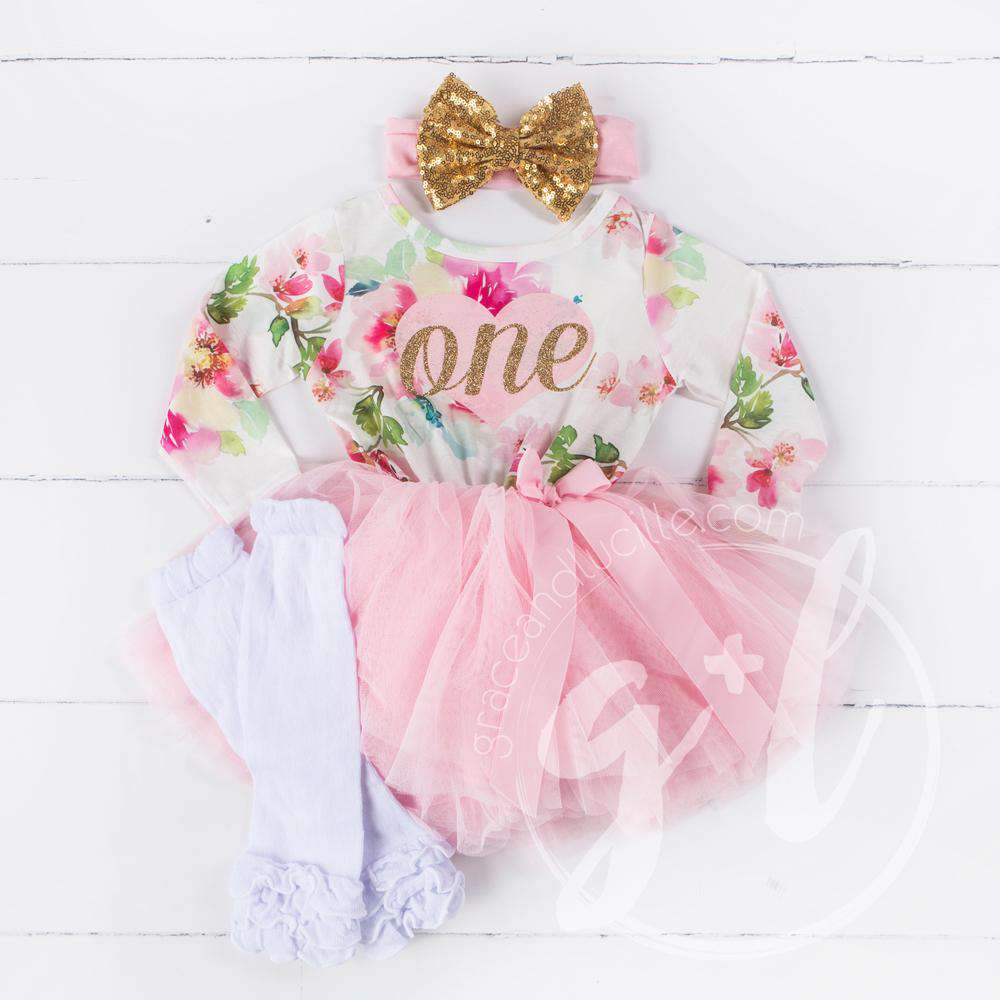 537c649d 1st Birthday Outfit Pink Heart Gold