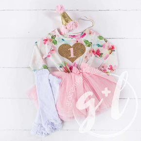 "1st Birthday Outfit Gold Heart number ""1"" Pink Floral Long Sleeve Dress, White Leg Warmers & Pink Hat - Grace and Lucille"