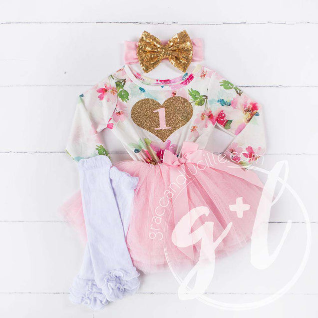 "1st Birthday Outfit Gold Heart number ""1"" Pink Floral Long Sleeve Dress, White Leg Warmers & Gold Bow Pink Headband - Grace and Lucille"