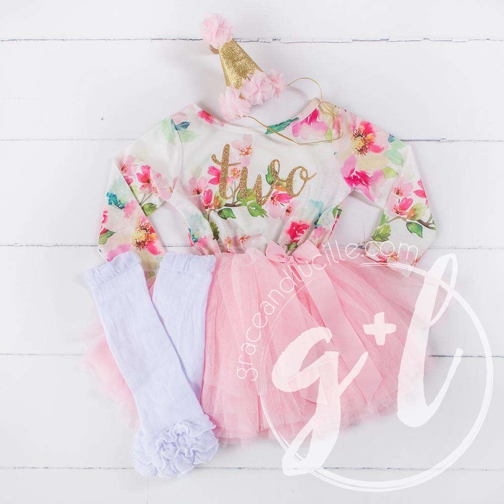 "2nd Birthday Outfit Gold Script ""TWO""Pink Floral Long Sleeve Dress, White Leg Warmers & Pink Hat - Grace and Lucille"