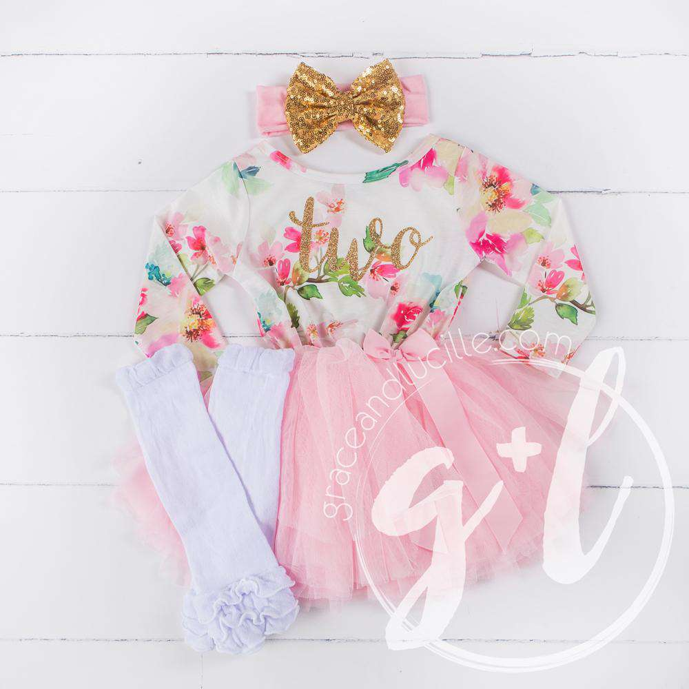 "2nd Birthday Outfit Gold Script ""TWO"" Pink Floral Long Sleeve Dress, White Leg Warmers & Gold Bow Pink Headband - Grace and Lucille"