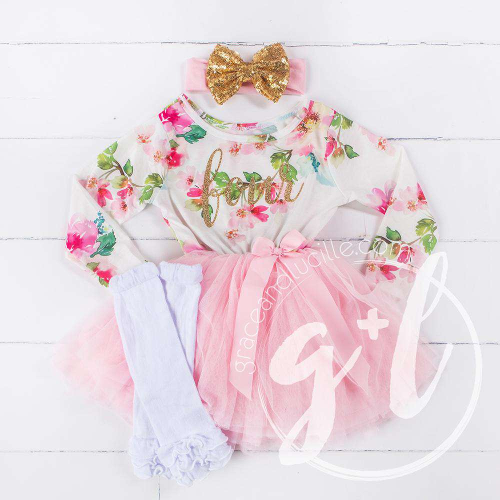 "4th Birthday Outfit Gold Script ""FOUR"" Pink Floral Long Sleeve Dress, White Leg Warmers & Gold Bow Pink Headband"