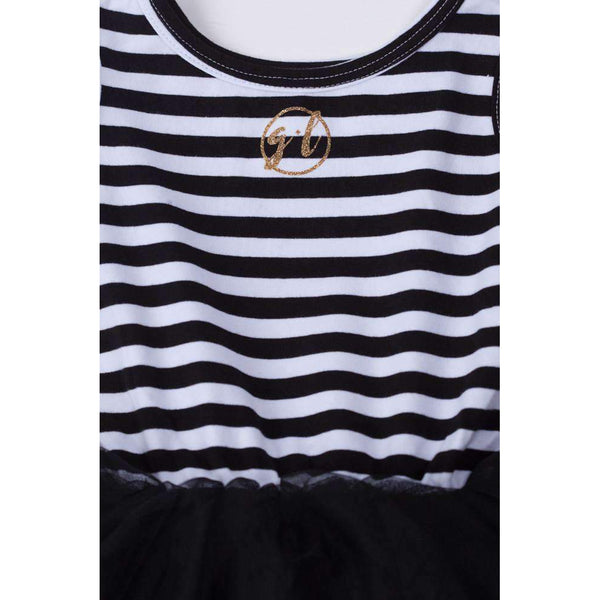 "2nd Birthday Dress Gold Script ""TWO"" Black Striped Long Sleeves - Grace and Lucille"