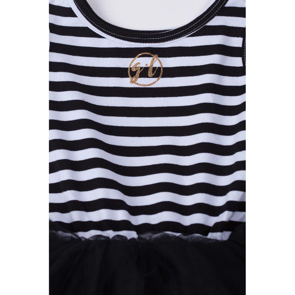 "1st Birthday Dress Gold Script ""ONE"" Black Striped Sleeveless - Grace and Lucille"