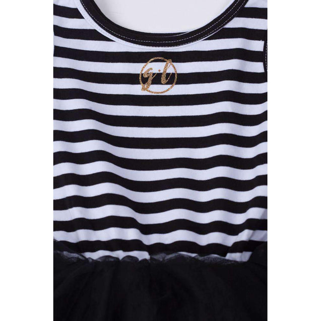 "1st Birthday Dress Gold Crown ""ONE""  Black Striped Sleeveless - Grace and Lucille"