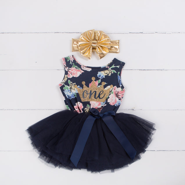 Birthday Dress Gold Crown with her AGE on Navy Floral Sleeveless and headband