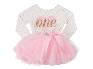 Pink Heart Gold Script Pink Polka Dot Tutu Dress - (First Birthday Dress - First Birthday Outfit)