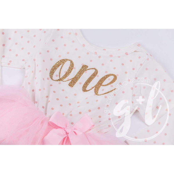 "1st Birthday Outfit Gold Script ""ONE"" Pink Polka Dot Long Sleeve Tutu Dress with Pink & Gold Headband - Grace and Lucille"