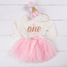 "1st Birthday Christmas Outfit Pink Snowflake Gold ""ONE"" Pink Polka Dot Long Sleeve Tutu Dress & Pink Party Hat - Grace and Lucille"