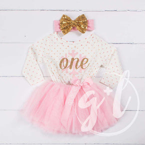 "1st Birthday Christmas Outfit Pink Snowflake Gold ""ONE"" Polka Dot Long Sleeve Tutu Dress with Bow Headband"
