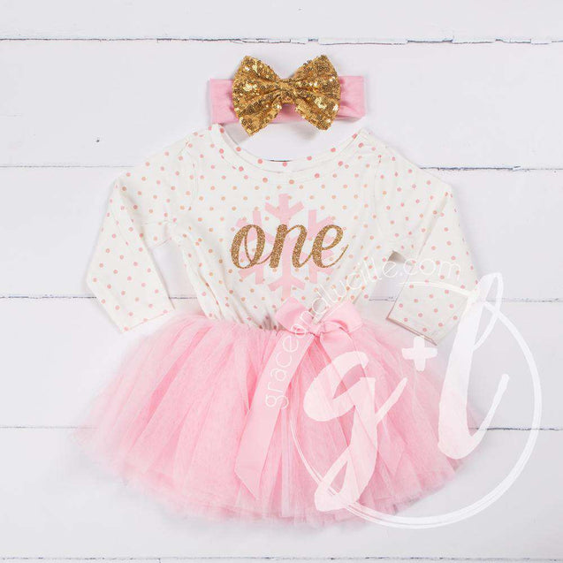 "1st Birthday Christmas Outfit Pink Snowflake Gold ""ONE"" Polka Dot Long Sleeve Tutu Dress with Bow Headband - Grace and Lucille"