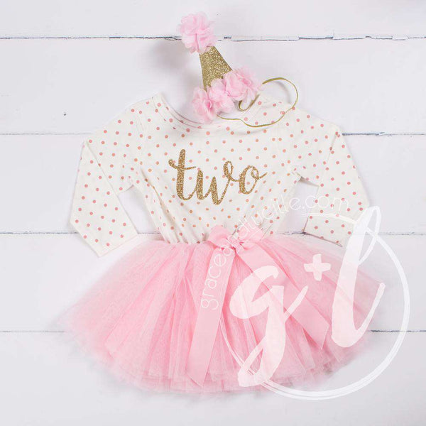 "2nd Birthday Outfit Gold Script ""TWO"" Pink Polka Dot Long Sleeve Tutu Dress & Pink Party Hat - Grace and Lucille"