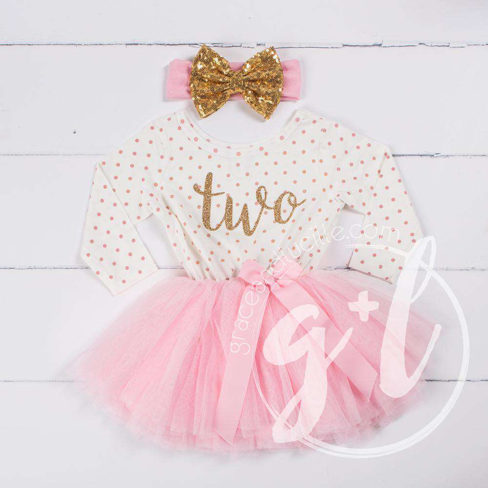 "2nd Birthday Outfit Gold Script ""TWO"" Pink Polka Dot Long Sleeve Tutu Dress with Pink & Gold Headband - Grace and Lucille"