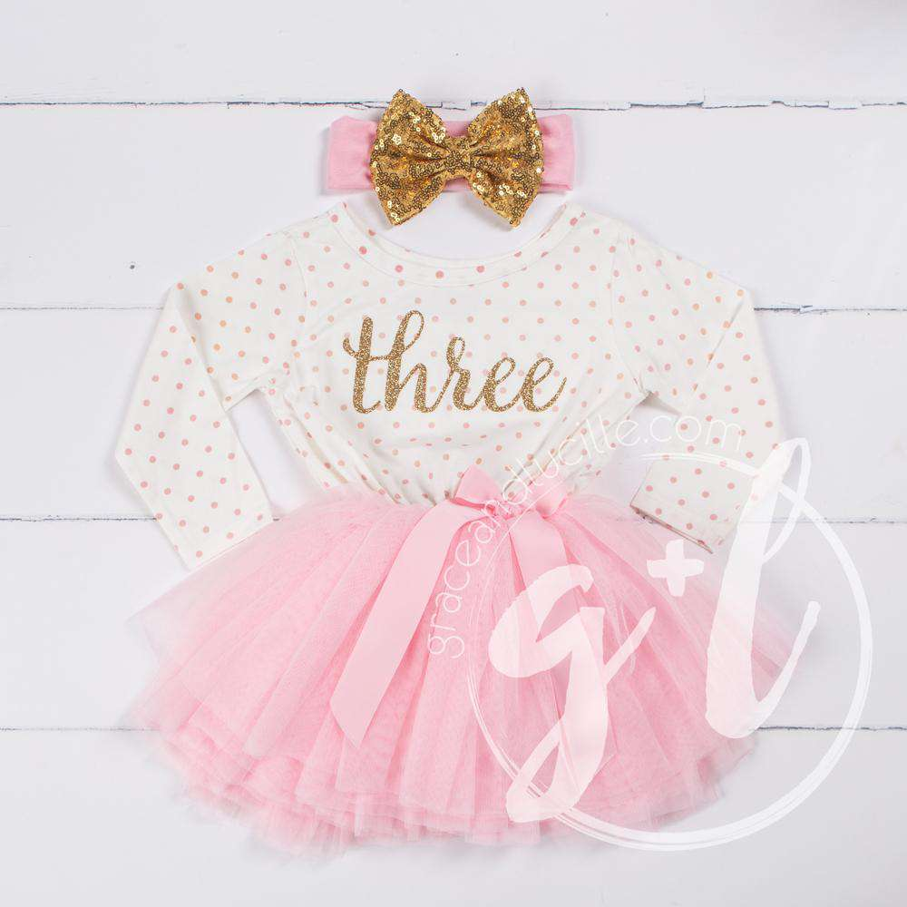 "3rd Birthday Outfit Gold Script ""THREE"" Pink Polka Dot Long Sleeve Tutu Dress with Pink & Gold Headband - Grace and Lucille"