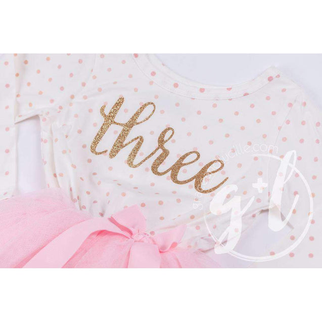 "3rd Birthday Outfit Gold Script ""THREE"" Pink Polka Dot Long Sleeve Tutu Dress & Pink Party Hat - Grace and Lucille"