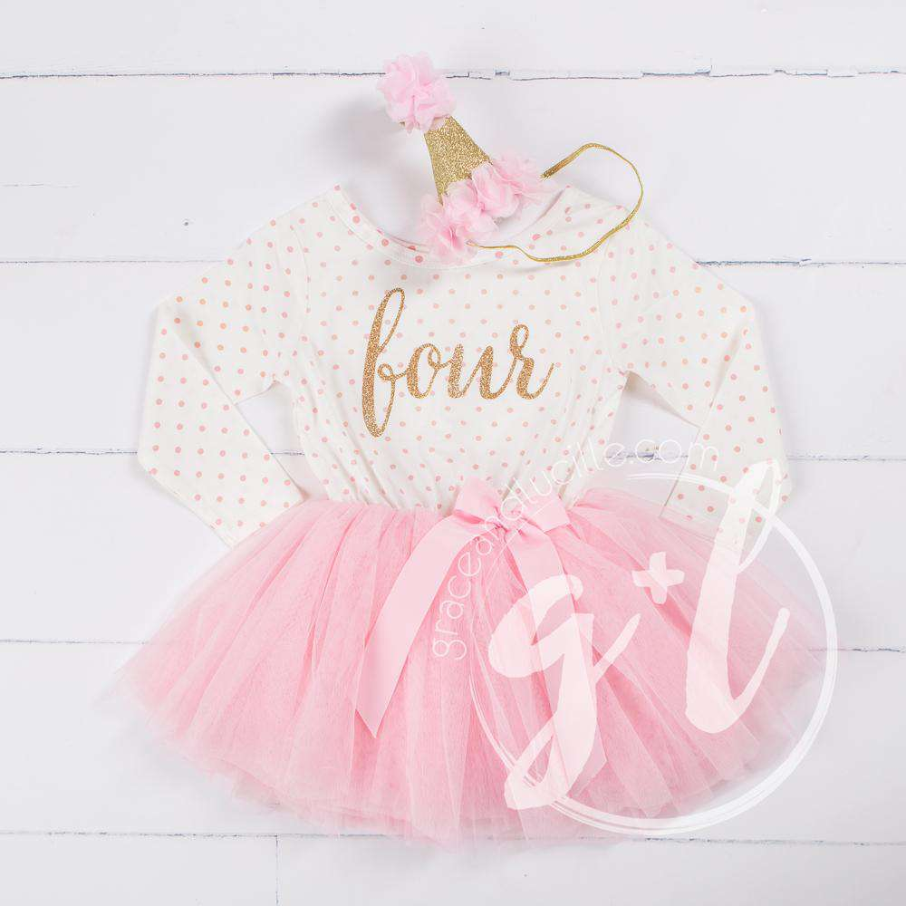 "4th Birthday Outfit Gold Script ""FOUR"" Pink Polka Dot Long Sleeve Tutu Dress & Pink Party Hat"