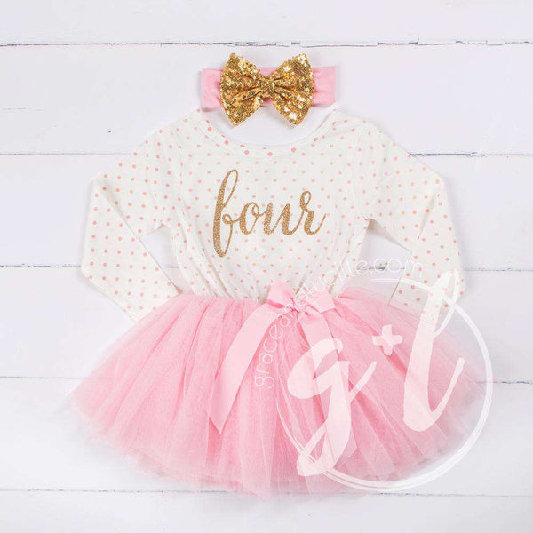 "4th Birthday Outfit Gold Script ""FOUR"" Pink Polka Dot Long Sleeve Tutu Dress with Pink & Gold Headband - Grace and Lucille"