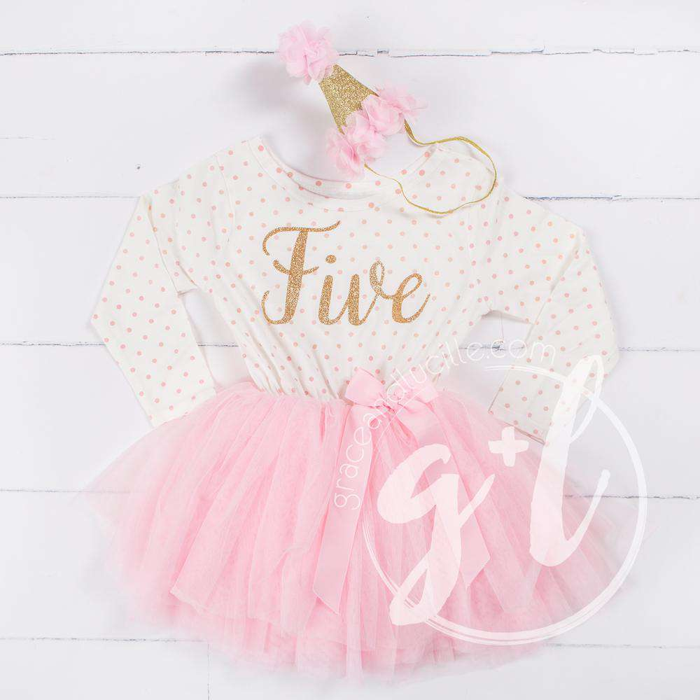 "5th Birthday Outfit Gold Script ""FIVE"" Pink Polka Dot Long Sleeve Tutu Dress & Pink Party Hat"