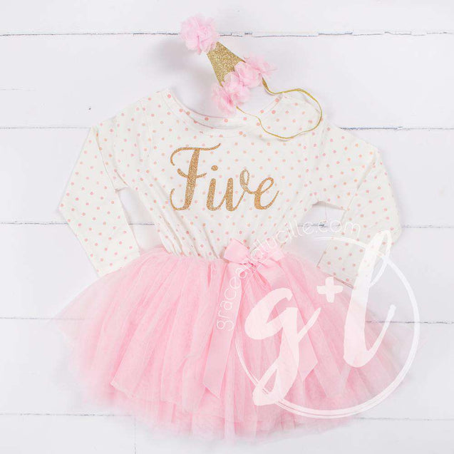 "5th Birthday Outfit Gold Script ""FIVE"" Pink Polka Dot Long Sleeve Tutu Dress & Pink Party Hat - Grace and Lucille"
