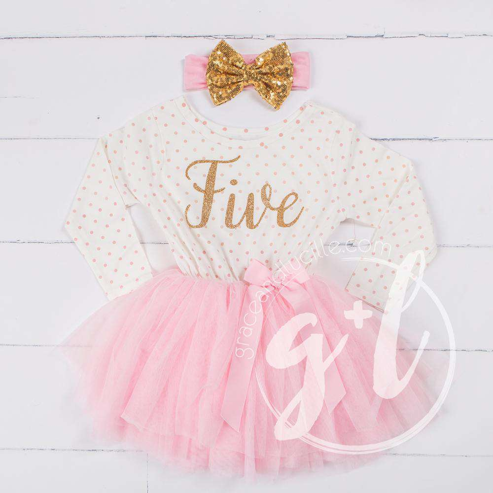 "5th Birthday Outfit Gold Script ""FIVE"" Pink Polka Dot Long Sleeve Tutu Dress with Pink & Gold Headband"