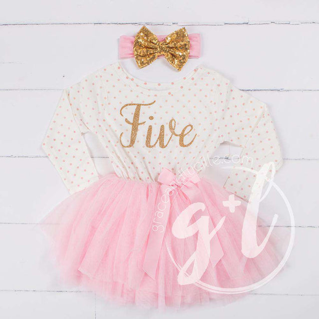 "5th Birthday Outfit Gold Script ""FIVE"" Pink Polka Dot Long Sleeve Tutu Dress with Pink & Gold Headband - Grace and Lucille"
