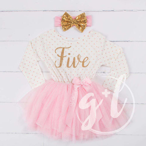 5th Birthday Outfit Gold Script
