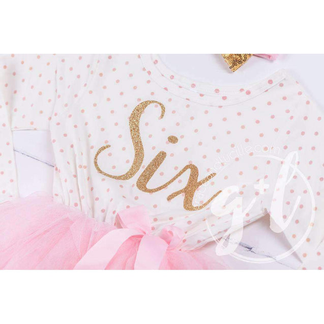 "6th Birthday Outfit Gold Script ""SIX"" Pink Polka Dot Long Sleeve Tutu Dress & Pink Party Hat - Grace and Lucille"