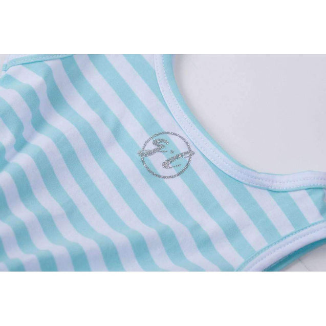"1st Birthday Dress Silver Heart ""ONE"" Aqua Striped Sleeveless - Grace and Lucille"