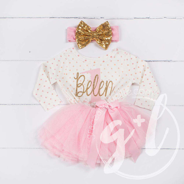 "1st Birthday Outfit ""Her Name"" & ""1"" Pink Polka Dot Long Sleeve Tutu Dress Party with Pink & Gold Headband - Grace and Lucille"