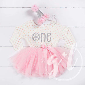 "Winter Wonderland Snowflake Birthday Dress ""HER AGE"" Pink Polka Dot Long Sleeves - Grace and Lucille"