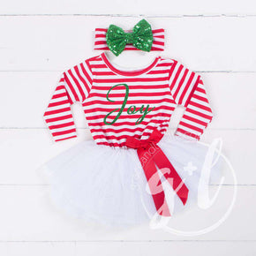 "Christmas ""JOY"" Red Striped Tutu Dress Long Sleeves, Green JOY & Green Bow on Stripe Headband"