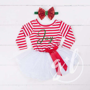 "Christmas ""JOY"" Red Striped Tutu Dress Long Sleeves, Green JOY & 2-in-1 Bow Belt - Grace and Lucille"