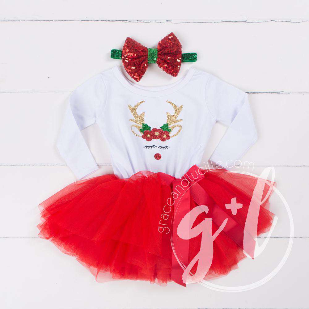 Rosie Reindeer Christmas Dress Red Tutu, White Long Sleeves & Red 2-in-1 Bow/Belt - Grace and Lucille