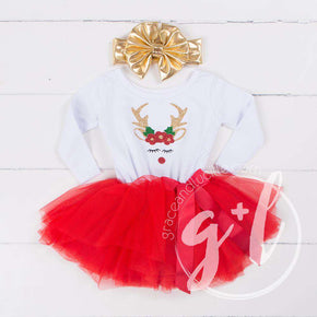 Rosie Reindeer Christmas Dress Red Tutu, White Long Sleeves & Gold Lame Headband