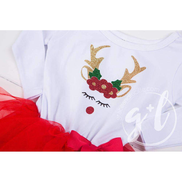 Rosie Reindeer Christmas Dress Red Tutu, White Long Sleeves & Gold Lame Headband - Grace and Lucille