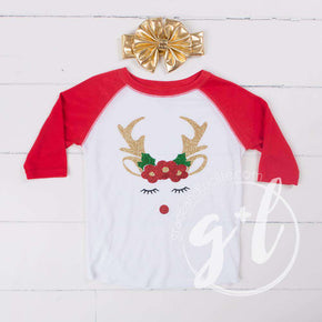 Rosie Reindeer Christmas Raglan Tee Shirt, White and Red & Gold Lame Headband