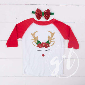 Rosie Reindeer Christmas Raglan Tee Shirt, White and Red with Red 2-in-1 Bow/Belt