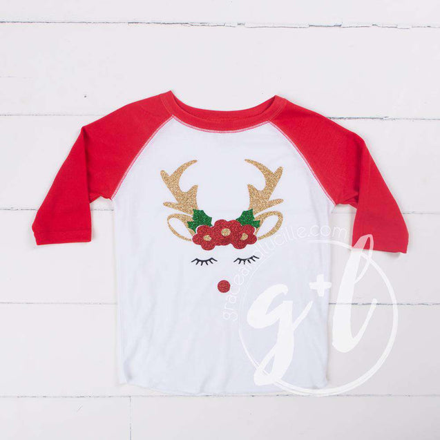 Rosie Reindeer Christmas Raglan Tee Shirt, White and Red with Red 2-in-1 Bow/Belt - Grace and Lucille