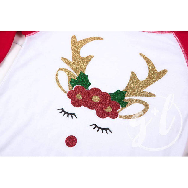 Rosie Reindeer Christmas Raglan Tee Shirt, White and Red & Gold Lame Headband - Grace and Lucille