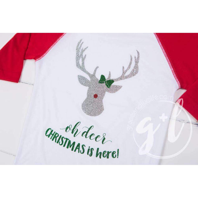 """Oh deer, Christmas is here!"" Raglan Tee Shirt, White and Red with Red 2-in-1 Bow/Belt - Grace and Lucille"