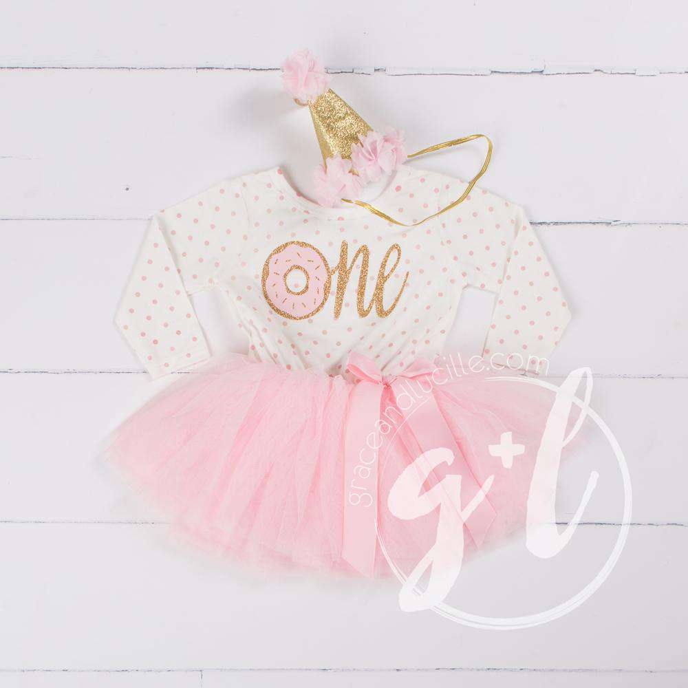 149650c23 1st Birthday Outfit Pink Polka Dot Donut