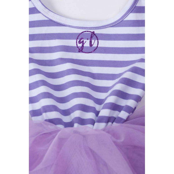 "4th Birthday Mermaid Dress Aqua Sea Shell ""FOUR"" Purple Striped Long Sleeves - Grace and Lucille"